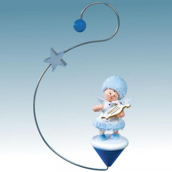 Schneeflöckchen mit kleiner Harfe, Artikel 43444 Baumschmuck ca. 120 x 70 x 30 mm