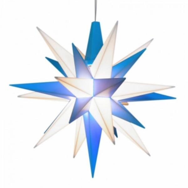 Herrnhuter Adventsstern Kunststoff 13 cm Weiß-Blau mit LED !