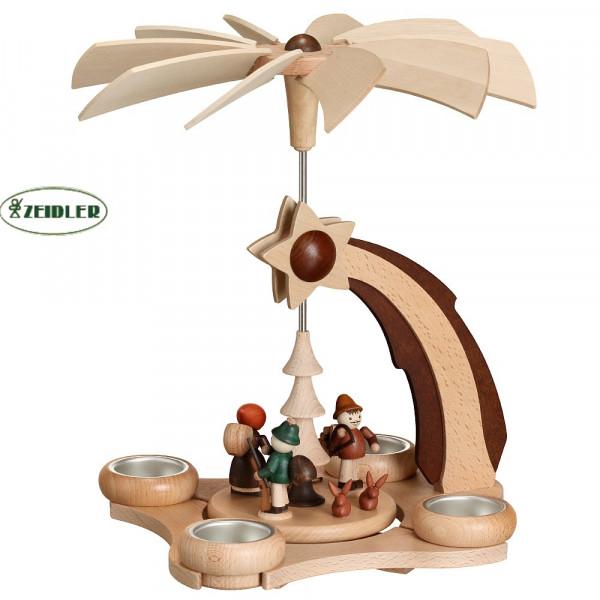 Pyramide Sternschnuppe mit Waldfiguren für 4 Teelichter