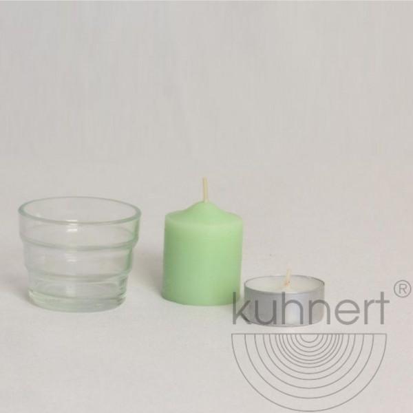 Universallicht-Glas, konisch (ohne Teelicht+ Kerze) Kuhnert Holzkunst Höhe ca. 45 mm
