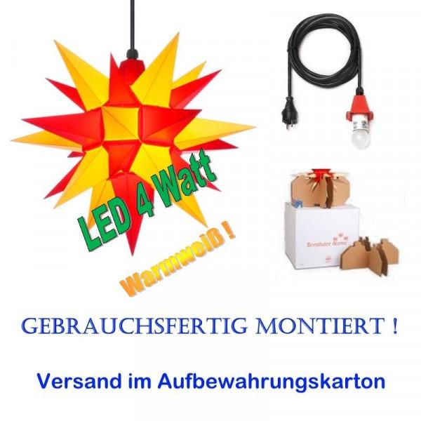 Herrnhuter Adventsstern Außenstern 40 cm Gelb-Rot mit LED+ 5m Zuleitung gebrauchsfertig montiert im Aufbewahrungskarton