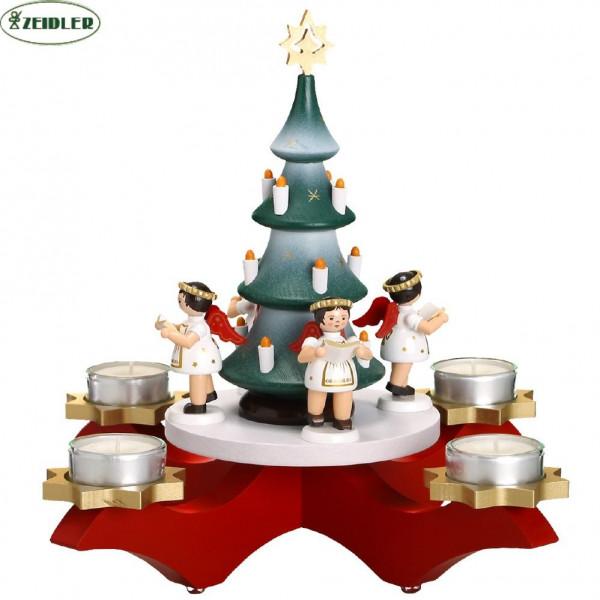 Adventsleuchter rot mit Baum und 4 Engeln farbig