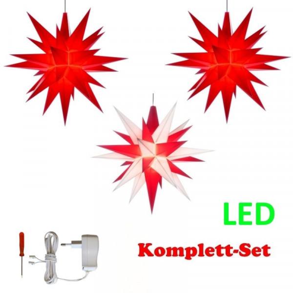Herrnhuter Adventsstern Komplettset 3 Stück A1E mit Netzteil Farben rot, weiß-rot, rot mit Netzgerät 500 mA