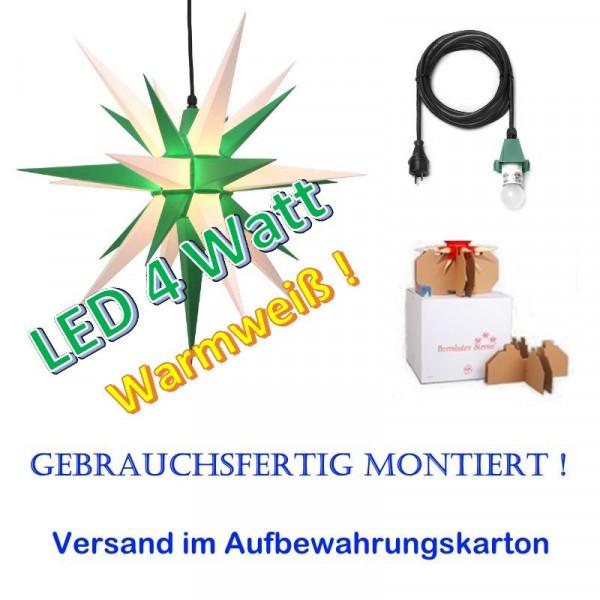 Herrnhuter Adventsstern Außenstern 68 cm Grün-Weiß mit LED + 5m Zuleitung gebrauchsfertig montiert im Aufbewahrungskarton