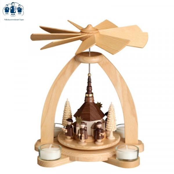 Tischpyramide Teelichtpyramide Seiffener Kirche mit Kurrende