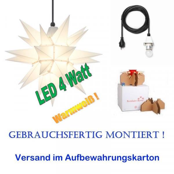 Herrnhuter Adventsstern Außenstern 40 cm Weiß mit LED+ 5m Zuleitung gebrauchsfertig montiert im Aufbewahrungskarton