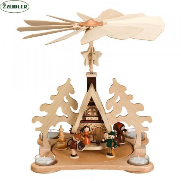 Teelichtpyramide Waldhaus für 4 Teelichter