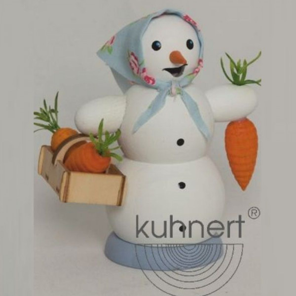 Räucherfigur Schneefrau mit Möhrenkorb