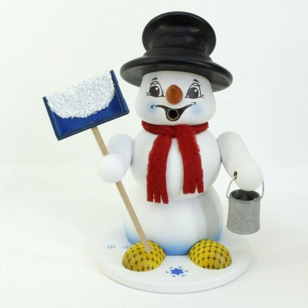 Schneemann Sigi mittel Schneeschieber als Räuchermann