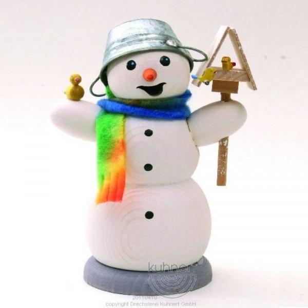 Räucherfigur Schneemann mit Vogelhaus und Vogel