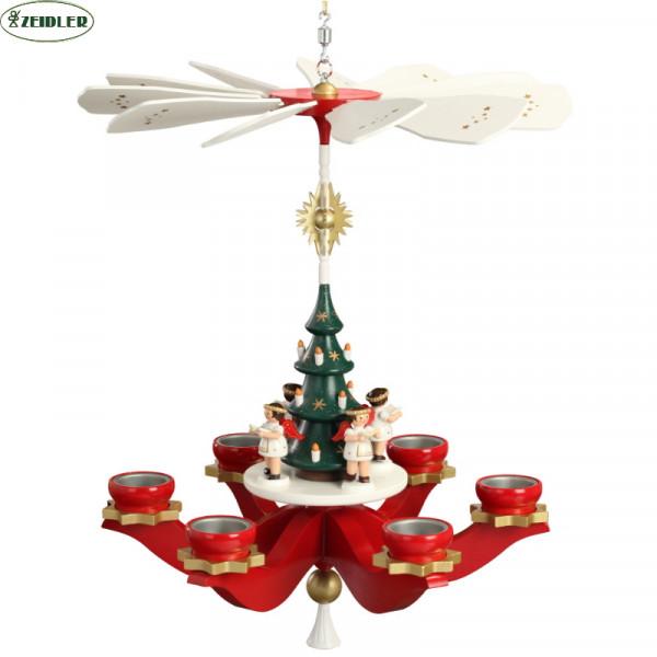 Hängepyramide Engel, rot, für 6 Teelichter