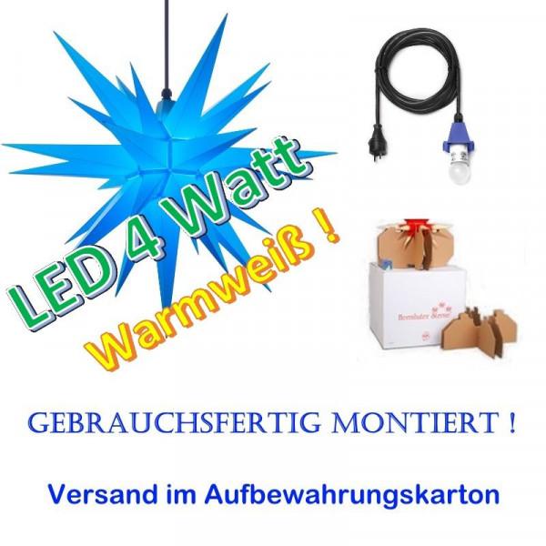 Herrnhuter Adventsstern Außenstern 68 cm Blau mit LED + 5m Zuleitung gebrauchsfertig montiert im Aufbewahrungskarton