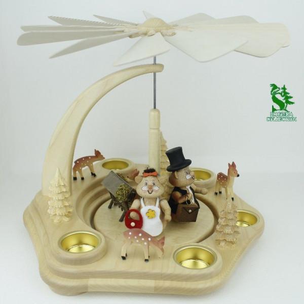 Teelichtpyramide mit Familie Körnlein und Futterkrippe
