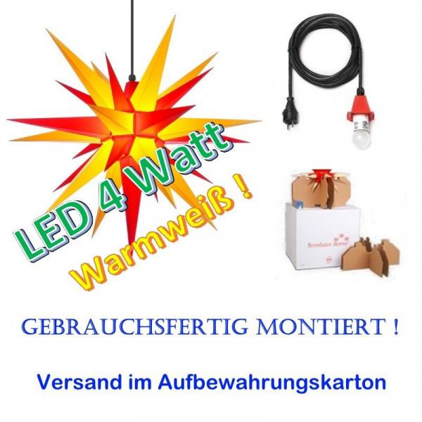 Herrnhuter Adventsstern Außenstern 68 cm Gelb-Rot mit LED + 5m Zuleitung gebrauchsfertig montiert im Aufbewahrungskarton