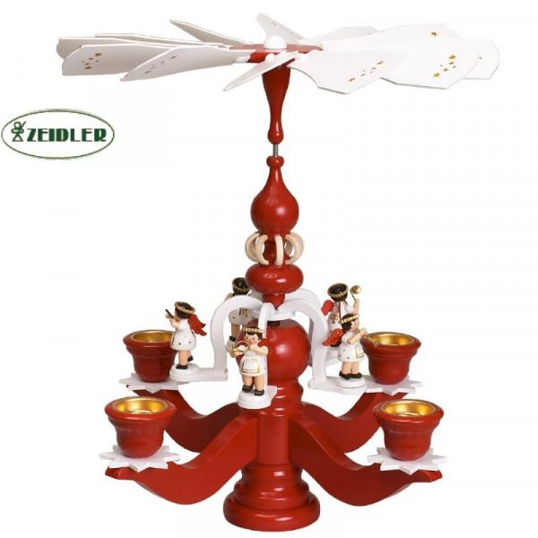 Leuchterpyramide groß, rot mit 5 weißen Engeln