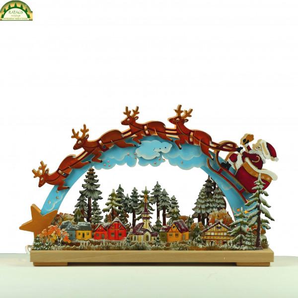 3D-Schwibbogen klein, Santa Claus, handbemalt, Winterfarben