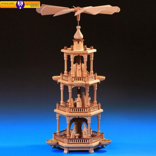 Pyramide natur 3-stöckig, Christi Geburt natur, 67 cm