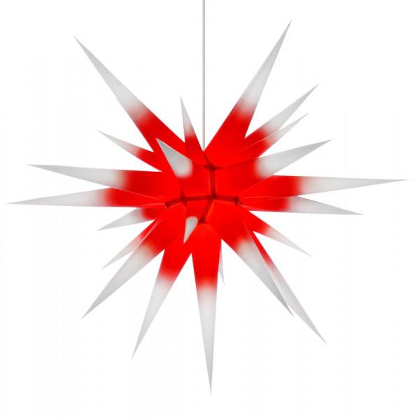 Herrnhuter Adventsstern I8, 80 cm Weiß mit rotem Kern