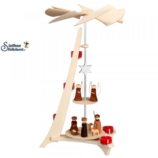 L-Pyramide Christi Geburt und Engel ca. 50 cm
