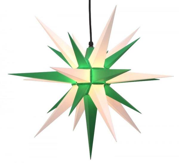 Herrnhuter Adventsstern Außenstern 68 cm Grün-Weiß Kunststoffstern für Innen- und Außenbereich geeignet