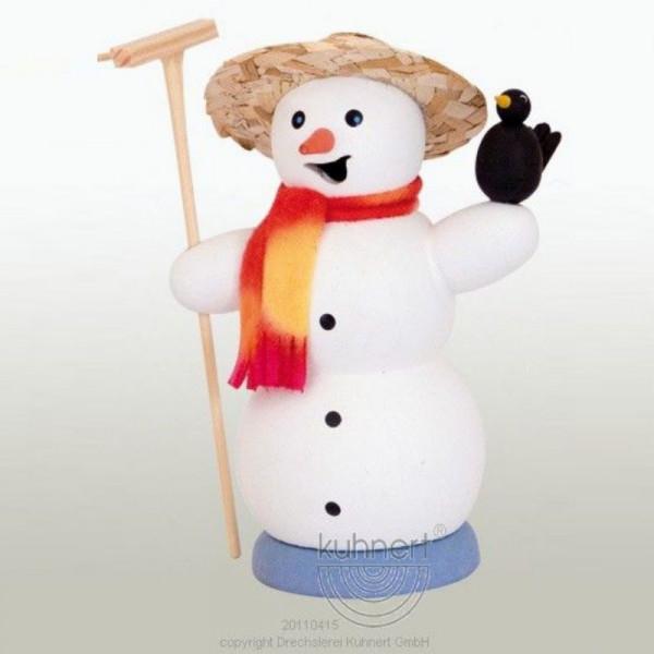 Räucherfigur Schneemann mit Rabe