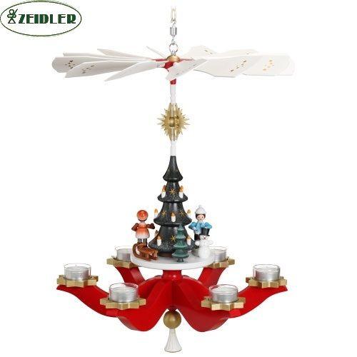 Hängepyramide Winterkinder, rot, für 6 Teelichter