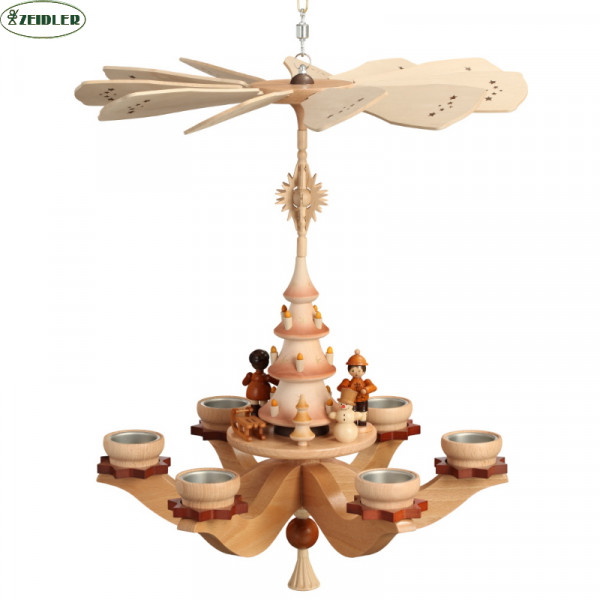 Hängepyramide Winterkinder, natur, für 6 Teelichter