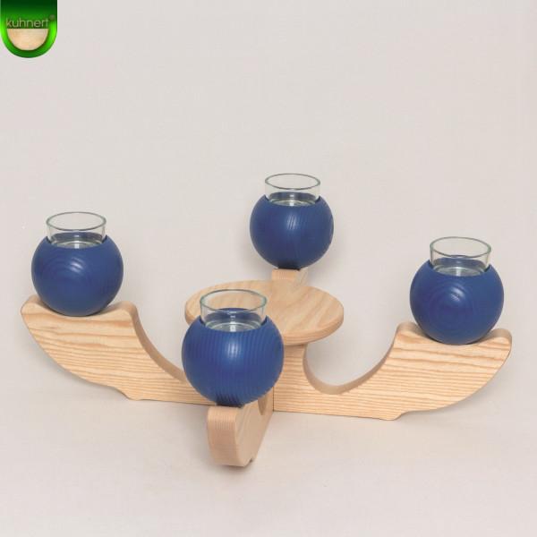 Tischleuchter Adventsleuchter 4-armig Blau