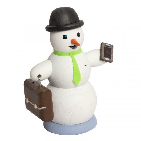 Räucherfigur Schneemann mit Aktenkoffer