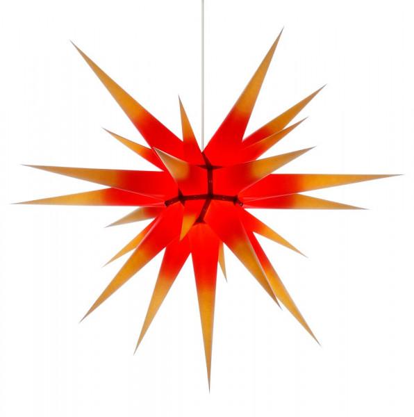 Herrnhuter Adventsstern I8, 80 cm Gelb mit rotem Kern