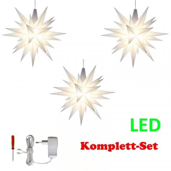 Herrnhuter Adventsstern Komplettset 3 Stück A1E mit Netzteil Farben weiß, weiß,weiß (LED) mit Netzgerät 500 mA