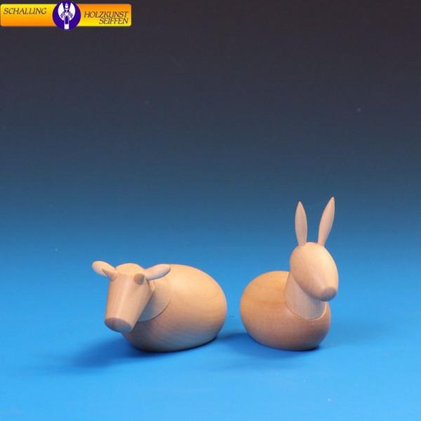 """Krippenfiguren """"Ochse und Esel"""", natur für 12 cm Figuren"""