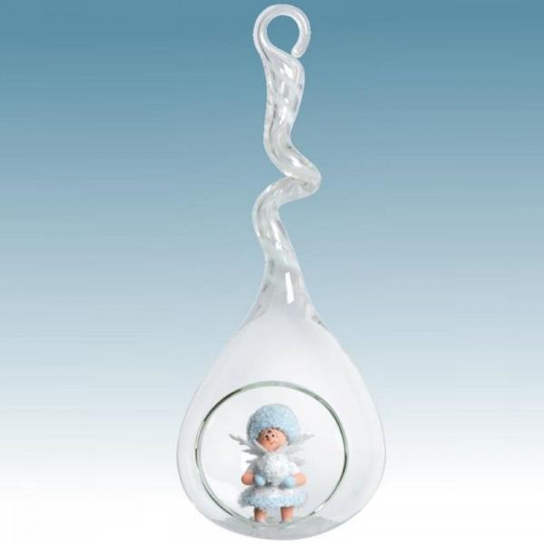 Schneeflöckchen mit Schlitten im Glastropfen weiß Artikel 43447, Länge ca. 20 cm