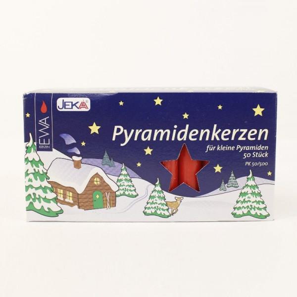 50 Pyramidenkerzen rot - für kleine Pyramiden