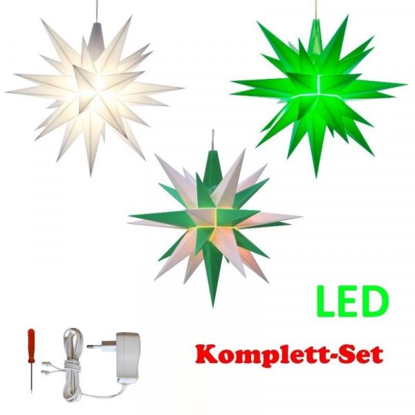 Herrnhuter Adventsstern Komplettset 3 Stück A1E mit Netzteil Farben weiß, weiß-grün, grün mit Netzgerät 500 mA