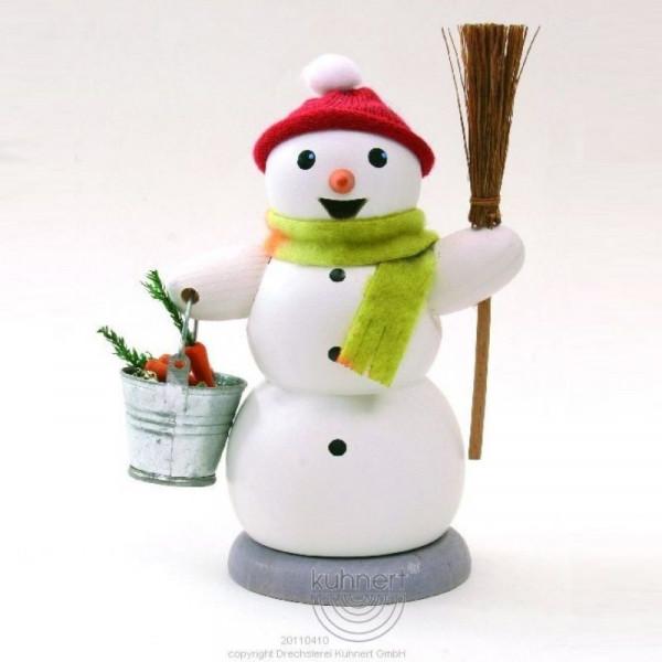 Räucherfigur Schneemann mit Eimer und Besen