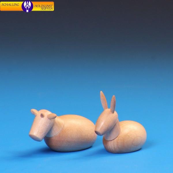 """Krippenfiguren """"Ochse und Esel"""" natur, für 6 cm Figuren"""