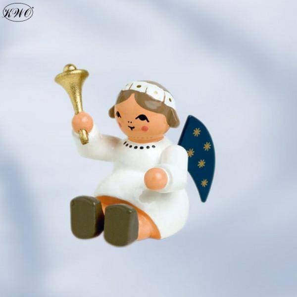 Engel mit Glocke, sitzend, 4 cm