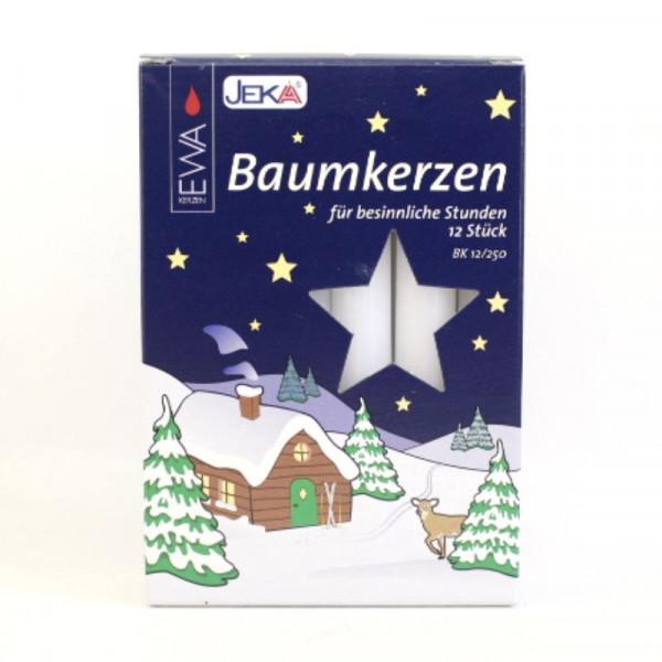 12 Baumkerzen 12/250 weiß Größe ca. 15 x 130 mm