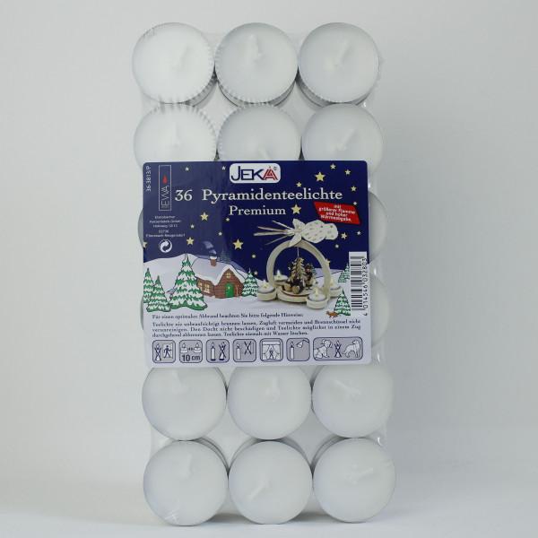 36 Pyramiden- Teelichte Premium in Metall- Hülle