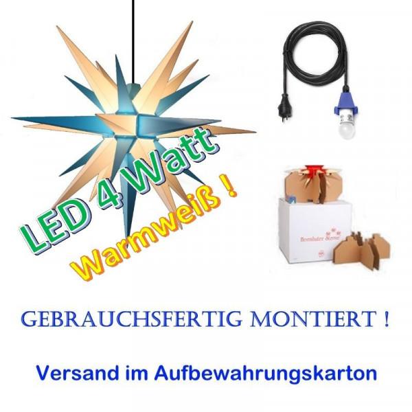Herrnhuter Adventsstern Außenstern 68 cm Blau-Weiß mit LED + 5m Zuleitung gebrauchsfertig montiert im Aufbewahrungskarton