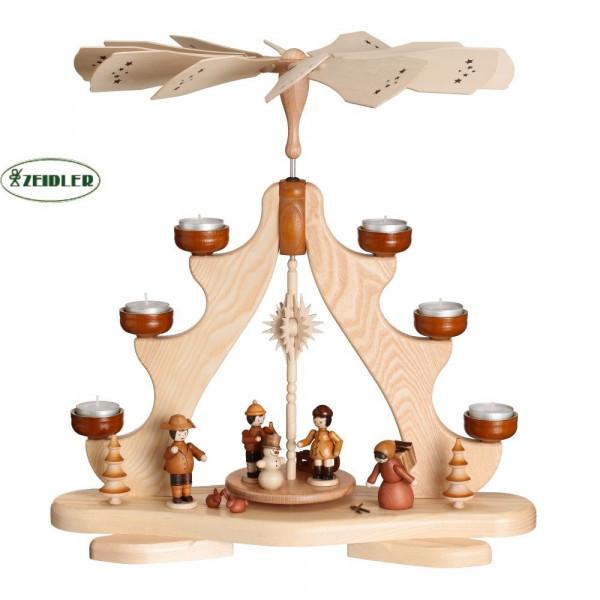 Pyramide mit Winterkinder, Esche natur, für 6 Teelichter