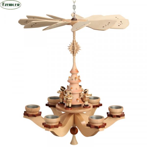 Hängepyramide mit Engeln natur, für 6 Teelichter