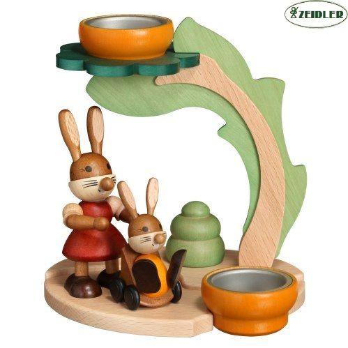 Teelichthalter Hasenmutti mit Kind und Baum