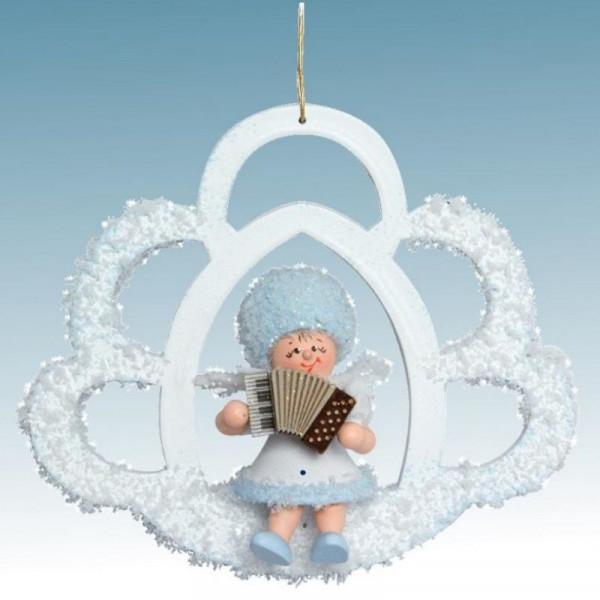 Schneeflöckchen mit Akkordeon, Artikel 43451 Baumschmuck, Maße ca. 70 x 70 x 40 mm