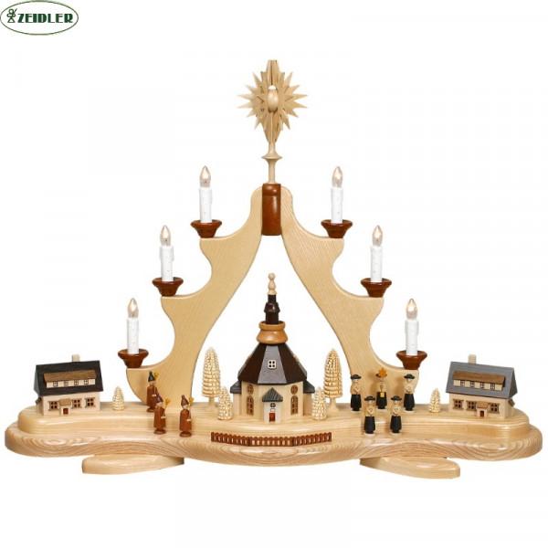 Weihnachtsberg groß mit Seiffener Kirche beleuchtet