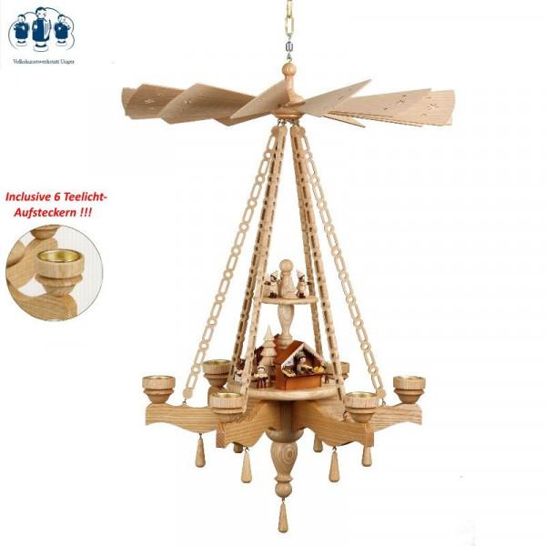 Deckenpyramide Weihnachtsmarkt 6-armig, 2-stöckig
