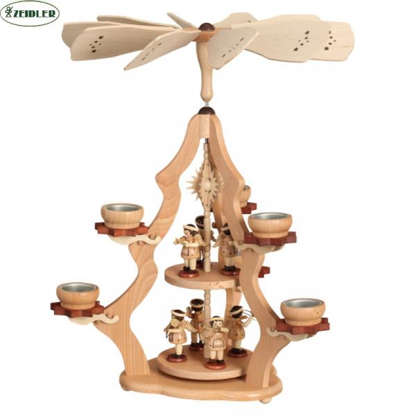 Teelichtpyramide natur mit 7 Engeln und 6 Teelichten.