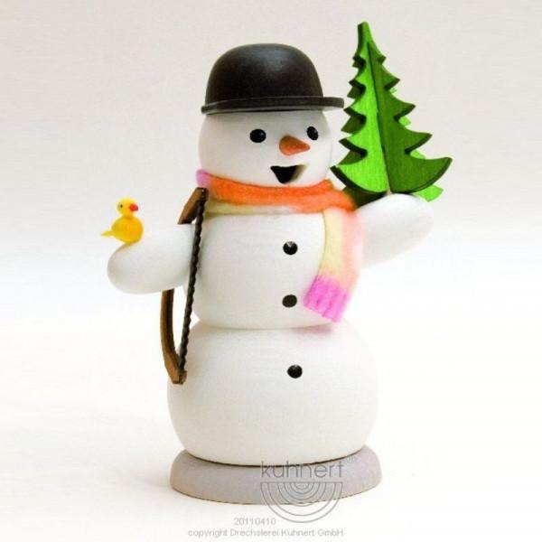 Räucherfigur Schneemann mit Tanne und Säge
