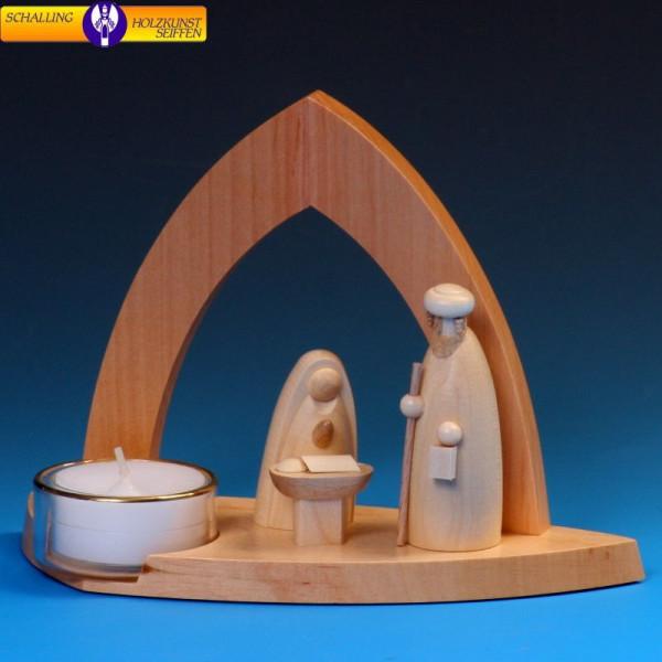 """Leuchter """"Bogenkrippe"""" mit Heiliger Familie und Teelicht"""